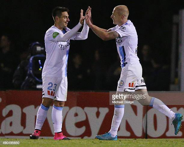 Bruno Fornaroli of the City celebrates a goal with Aaron Mooy during the FFA Cup Quarter Final match between Heidleberg United and Melbourne City FC...