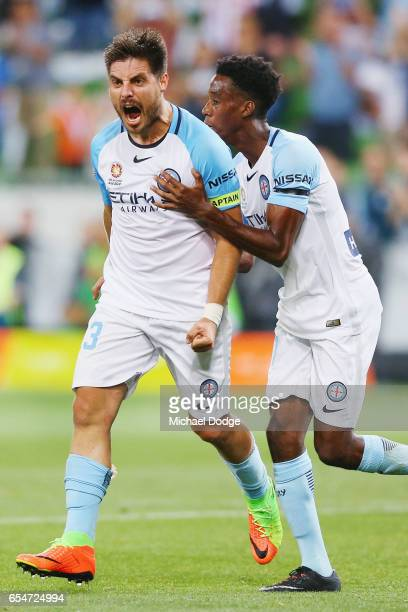 Bruno Fornaroli of the City celebrates a goal with Ruon Tongyik of the City during the round 23 ALeague match between Melbourne City FC and the...