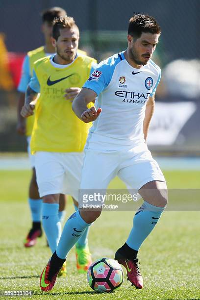 Bruno Fornaroli of the City controls the ball during a Melbourne City ALeague press conference at La Trobe University Sports Fields on August 15 2016...