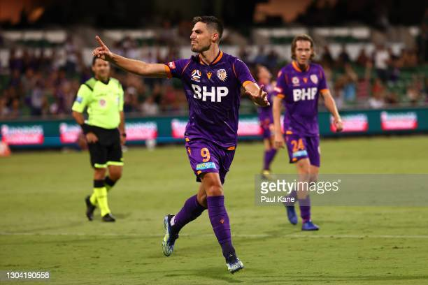 Bruno Fornaroli of the Glory celebrates a goal during the A-League match between the Perth Glory and the Brisbane Roar at HBF Park, on February 26 in...