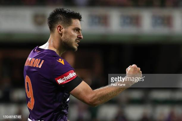 Bruno Fornaroli of the Glory celebrates a goal during the round 18 A-League match between the Perth Glory and the Wellington Phoenix at HBF Park on...