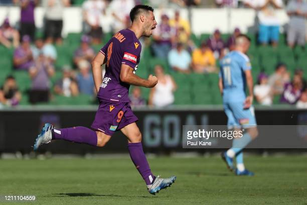 Bruno Fornaroli of the Glory celebrates a goal during the round 22 ALeague match between the Perth Glory and Melbourne City at HBF Park on March 08...