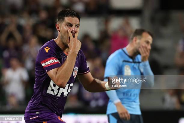 Bruno Fornaroli of the Glory celebrates a goal, which was later overturned by the VAR during the round 7 A-League match between Perth Glory and...