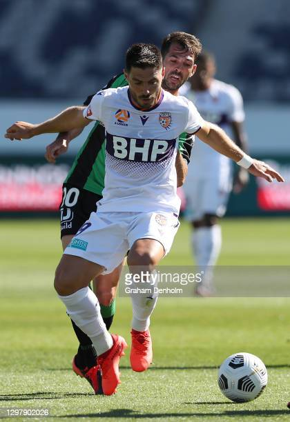 Bruno Fornaroli of the Glory in action during the A-League match between Western United and the Perth Glory at GMHBA Stadium, on January 23 in...