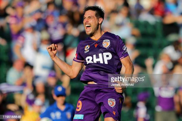 Bruno Fornaroli of the Perth Glory celebrates his goal during the round 11 A-League match between the Perth Glory and Newcastle Jets at HBF Park on...