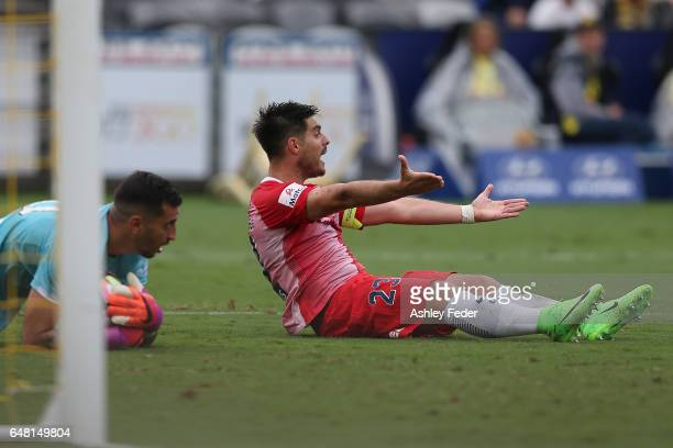 Bruno Fornaroli pleads to the referee after colliding with Paul Izzo during the round 22 ALeague match between the Central Coast Mariners and...