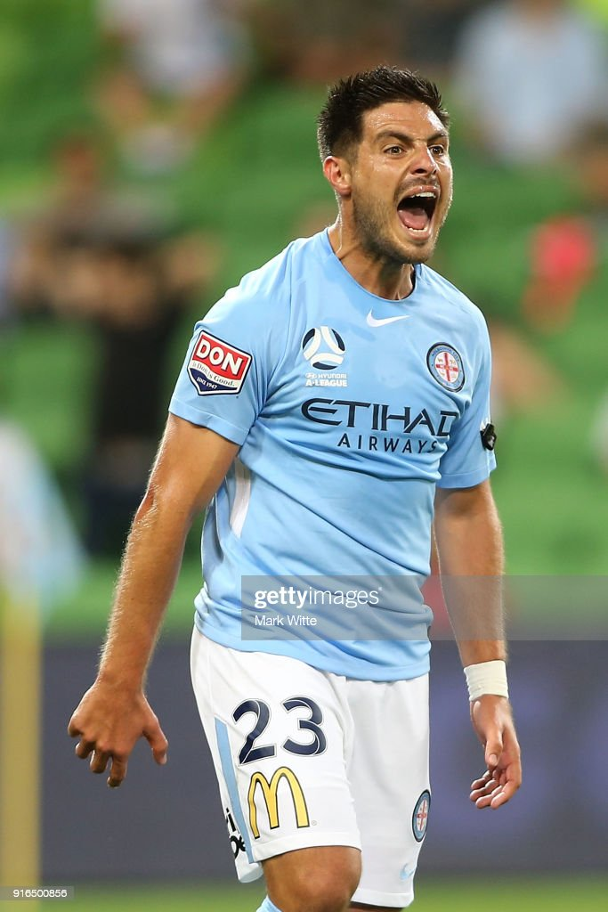 Bruno Fornaroli reacts to missing a goal during the round 20 A-League match between Melbourne City and Sydney FC at AAMI Park on February 10, 2018 in Melbourne, Australia.