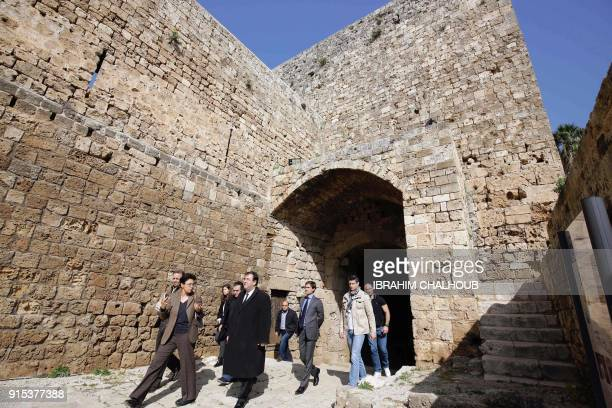 Bruno Foucher French Ambassador in Beirut tours the Citadelle de aintGilles in the old town of the northern Lebanese city of Tripoli on February 7...