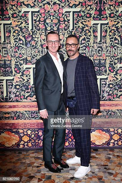 Bruno Frisoni and Nicola Dal Verme attend the T Celebration of Culture Issue And Milan Design Week at Palazzo Crespi on April 11 2016 in Milan Italy