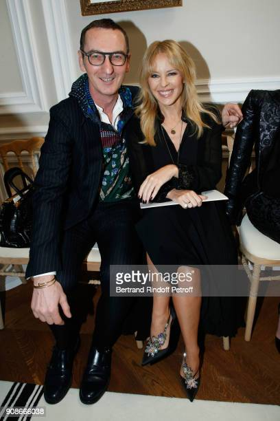 Bruno Frisoni and signer Kylie Minogue attend the Schiaparelli Haute Couture Spring Summer 2018 show as part of Paris Fashion Week on January 22 2018...