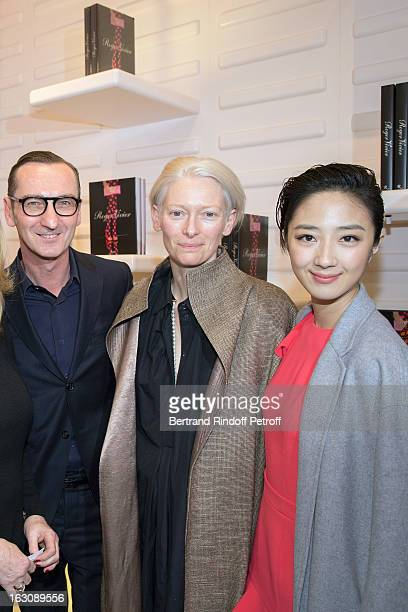 Bruno Frisoni Tilda Swinton and Kwai Lunmei attend the Roger Vivier Cocktail to celebrate the launch of the book 'Roger Vivier' as part of Paris...