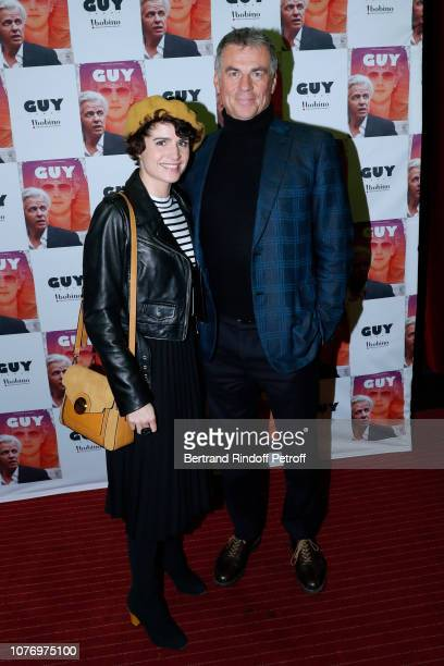 Bruno Gaccio and his companion Director AnneLaure Gruet attend the Alex Lutz's concert with the Group of singer Guy Jamet which he played in the...
