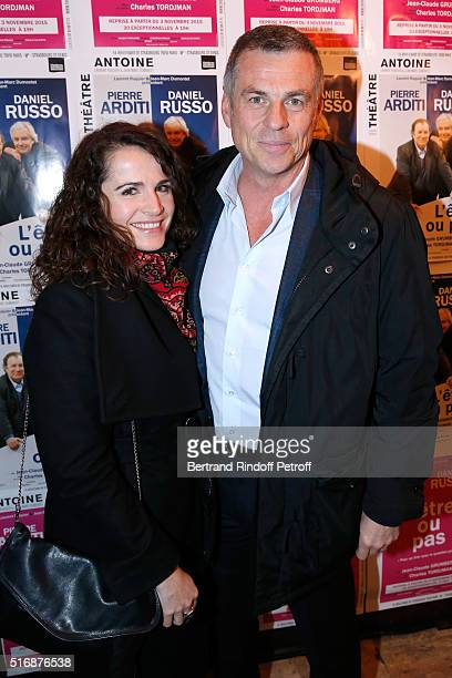 Bruno Gaccio and his companion Director AnneLaure Gruet attend the 'L'Etre ou pas' Theater play at Theatre Antoine on March 21 2016 in Paris France