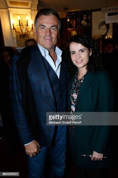 Bruno Gaccio and his companion Director AnneLaure Gruet attend the 'Ramses II' Theater Play at Theatre des Bouffes Parisiens on October 23 2017 in...