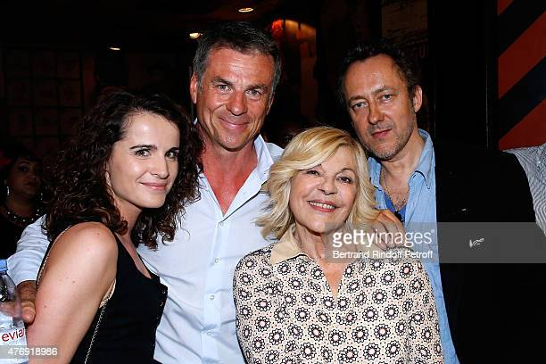 Bruno Gaccio and his companion Director AnneLaure Gruet with Singer Nicoletta and her husband Jean Christophe Molinier pose Backstage after Humorist...