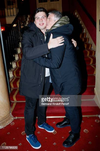 Bruno Gaccio and his son Enzo Gaccio attend the Michele Bernier One Woman Show Vive Demain at Theatre des Varietes on January 28 2019 in Paris France
