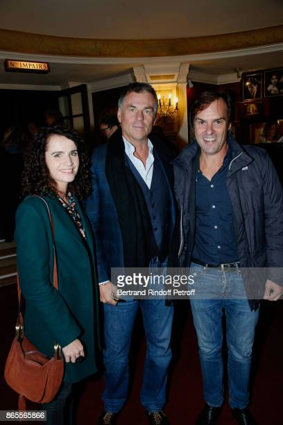 Bruno Gaccio standing between his companion AnneLaure Gruet and Autor of the piece Sebastien Thiery attend the 'Ramses II' Theater Play at Theatre...
