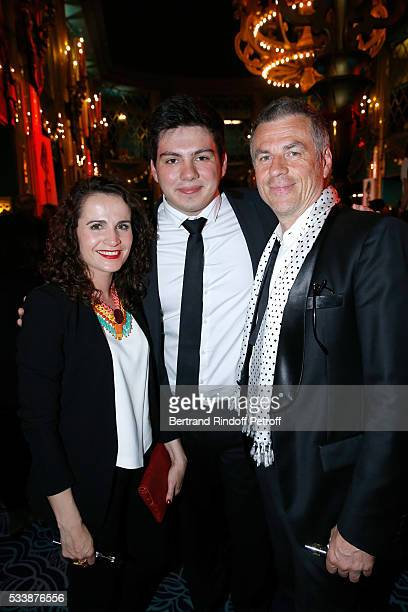 Bruno Gaccio with his son Enzo and his companion Director AnneLaure Gruet attend La 28eme Nuit des Molieres on May 23 2016 in Paris France