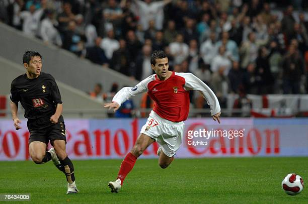 Bruno Gama Braga and Lee Young Pyo during the UEFA Cup Fourth Round First Leg match at the Estadio Municipal de Braga in Braga Portugal on March 8...