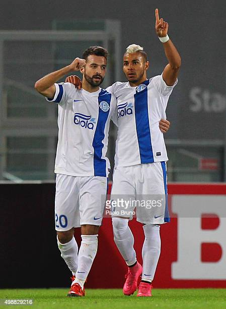Bruno Gama with his teammate Danilo of FC Dnipro Dnipropetrovsk celebrates after scoring the team's first goal during the UEFA Europa League group G...