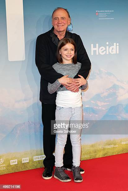 Bruno Ganz and Anuk Steffen during the German premiere of the film 'HEIDI' at Mathaeser Filmpalast on November 29 2015 in Munich Germany
