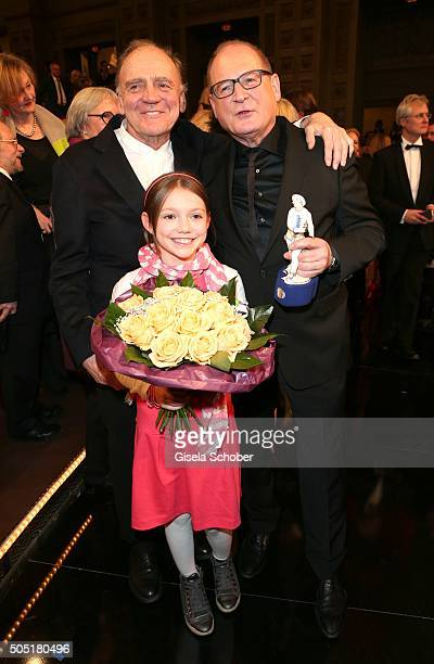 Bruno Ganz and Burghart Klaussner with award and Anuk Steffen Heidi during the Bavarian Film Award 2016 at Prinzregententheater on January 15 2016 in...