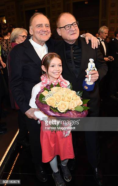 Bruno Ganz Anuk Steffen and Burghart Klaussner during the Bavarian Film Award 2016 show at Prinzregententheater on January 15 2016 in Munich Germany