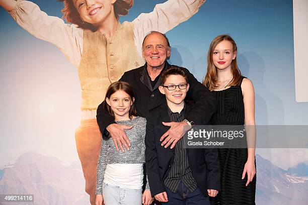 Bruno Ganz Anuk Steffen Quirin Agrippi and Isabelle Ottmann during the German premiere of the film 'HEIDI' at Mathaeser Filmpalast on November 29...