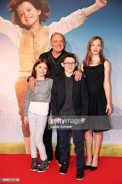 Bruno Ganz Anuk Steffen Quirin Agrippi and Isabelle Ottmann during the German premiere of the film 'HEIDI' at Mathaeser Filmpalast on November 29...