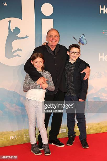 Bruno Ganz Anuk Steffen Quirin Agrippi during the German premiere of the film 'HEIDI' at Mathaeser Filmpalast on November 29 2015 in Munich Germany