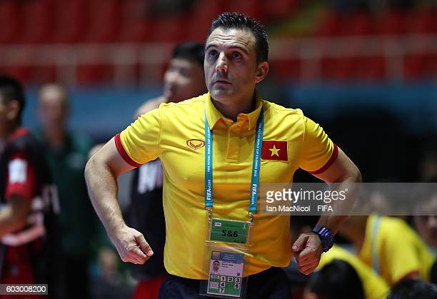 Bruno Garcia the Spanish coach of Vietnam looks on during the Group C match between Vietnam and Guatemala during the FIFA Futsal World Cup at the...