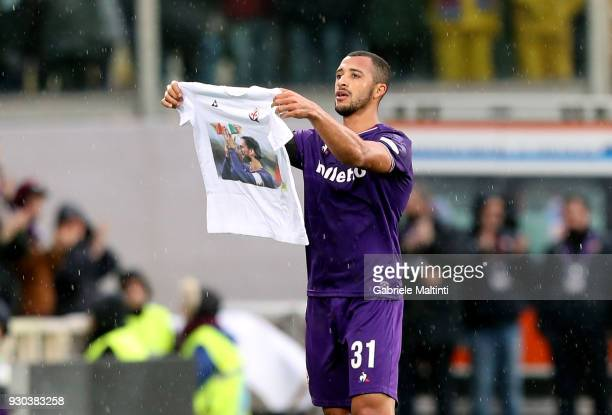 Bruno Gaspar of ACF Fiorentina celebrates after scoring a goal during the serie A match between ACF Fiorentina and Benevento Calcio at Stadio Artemio...
