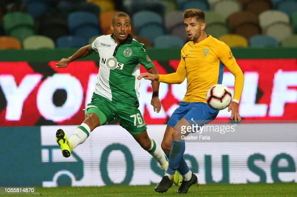 Bruno Gaspar of Sporting CP with Joao Vigario of GD Estoril Praia in action during the Portuguese League Cup match between Sporting CP and GD Estoril...