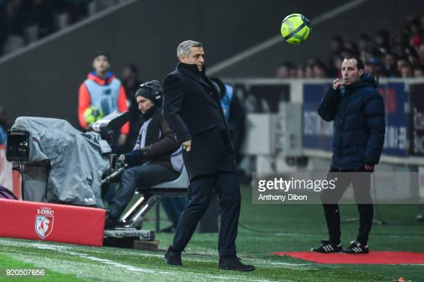 Bruno Genesio coach of Lyon during the Ligue 1 match between Lille OSC and Olympique Lyonnais at Stade Pierre Mauroy on February 18 2018 in Lille