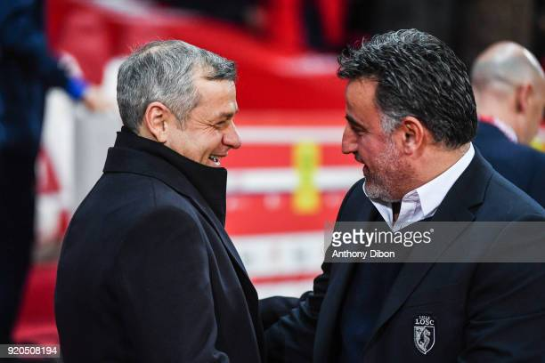 Bruno Genesio coach of Lyon talks with Christophe Galtier coach of Lille during the Ligue 1 match between Lille OSC and Olympique Lyonnais at Stade...