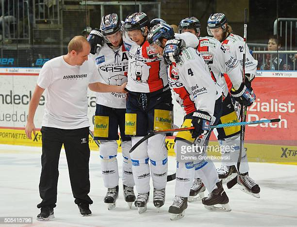 Bruno Gervais of Eisbaeren Berlin is brought off as he suffers an injury during the Ice Hockey DEL match between Adler Mannheim and Eisbaeren Berlin...