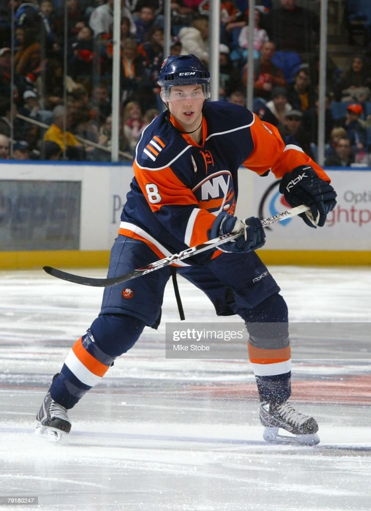 Bruno Gervais #8 of the New York Islanders skates against the Carolina Hurricanes on January 21, 2008 at Nassau Coliseum in Uniondale, New York