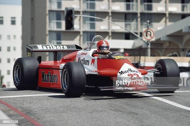 Bruno Giacomelli drives the Marlboro Team Scuderia Alfa Romeo 182 V12 during the United States Grand Prix West on 4 April 1982 at the Long Beach...