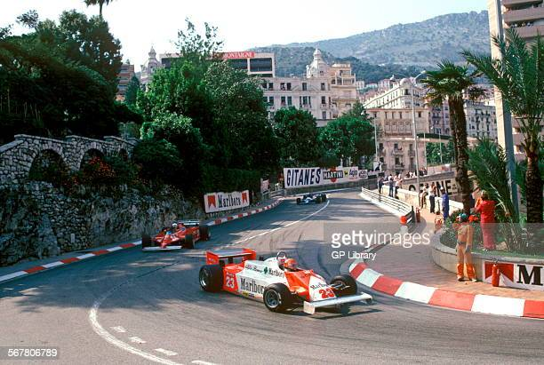 Bruno Giacomelli in an Alfa Romeo 179 coming down into Loews Hairpin from Mirabeau Superieur at the Monaco GP, 1981.