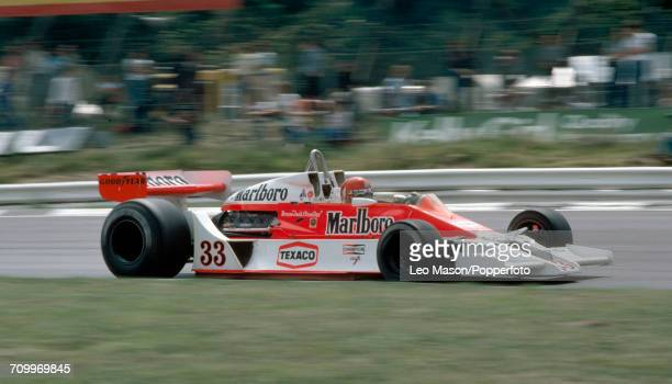 Bruno Giacomelli of Italy driving a McLaren M26 with a Ford V8 engine for Malboro Team McLaren enroute to placing seventh during the British Grand...