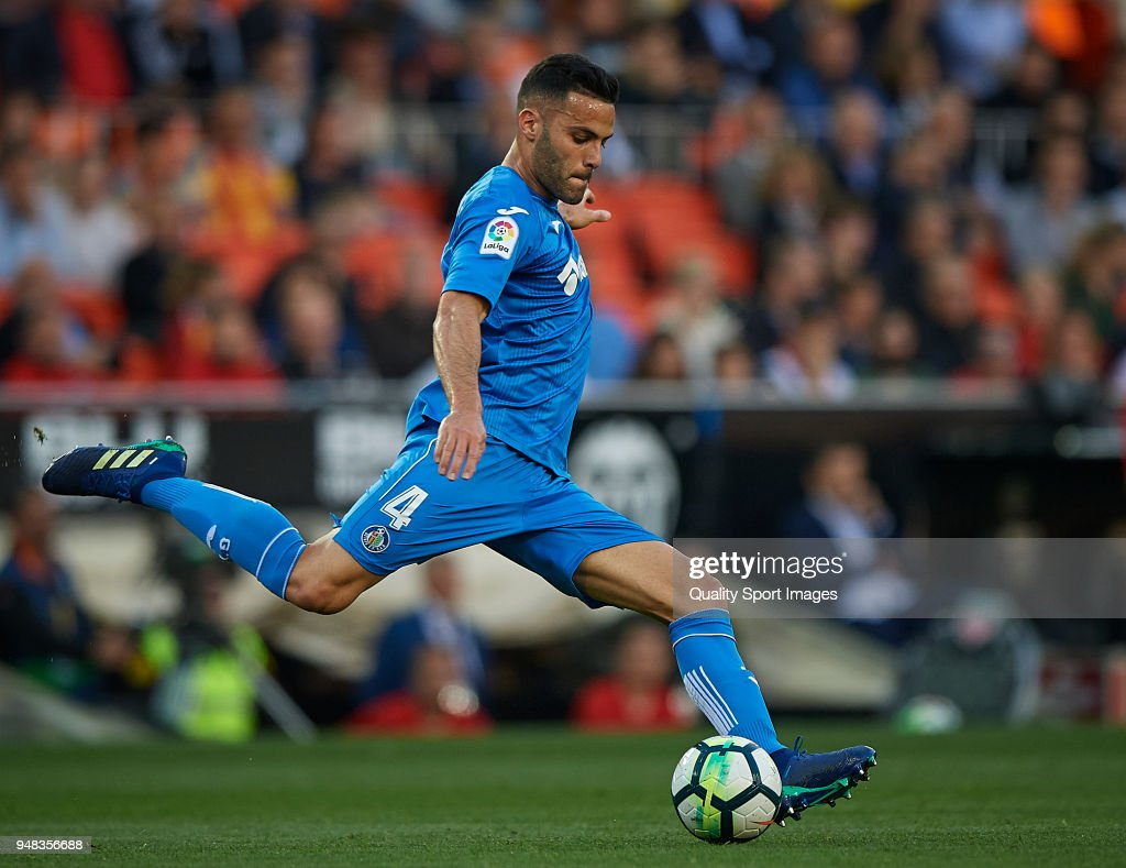 Bruno Gonzalez of Getafe in action during the La Liga match between Valencia and Getafe at Mestalla Stadium on April 18, 2018 in Valencia, Spain.