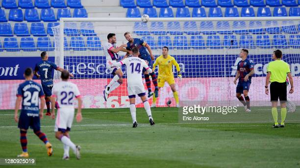 Bruno Gonzalez of Real Valladolid scores his team's first goal during the La Liga Santander match between SD Huesca and Real Valladolid CF at Estadio...