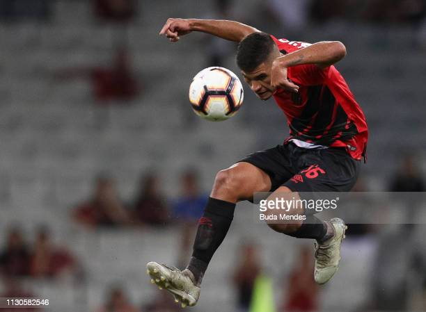 Bruno Guimaraes of Athletico PR controls the ball in the air during a match between Athletico PR and Jorge Wilstermann as part of Copa CONMEBOL...