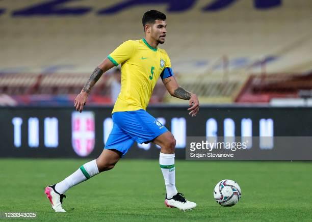 Bruno Guimaraes of Brazil in action during the International football friendly match between Serbia U21 and Brazil U23 at stadium Rajko Mitic on June...