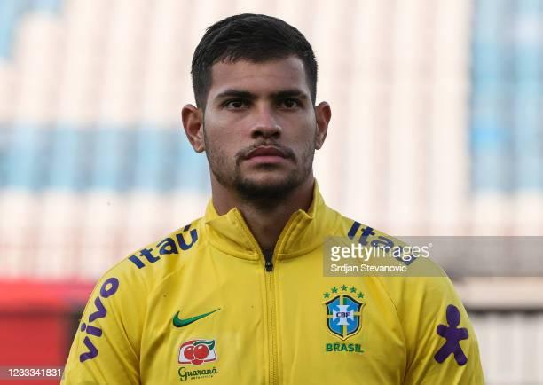 Bruno Guimaraes of Brazil looks on prior to the International football friendly match between Serbia U21 and Brazil U23 at stadium Rajko Mitic on...