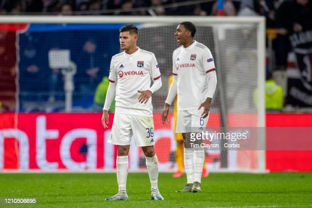 Bruno Guimaraes of Lyon and Marcelo of Lyon during the Lyon V Juventus UEFA Champions League Round of Sixteen 1st leg match at Groupama Stadium on...