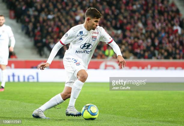 Bruno Guimaraes of Lyon during the Ligue 1 match between Lille OSC and Olympique Lyonnais at Stade Pierre Mauroy on March 8 2020 in Villeneuve d'Ascq...