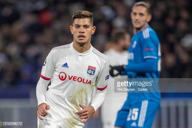 Bruno Guimaraes of Lyon during the Lyon V Juventus UEFA Champions League Round of Sixteen 1st leg match at Groupama Stadium on February 26th 2020 in...