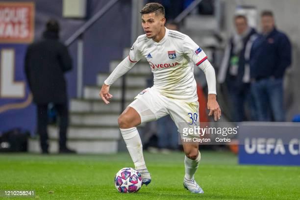 Bruno Guimaraes of Lyon in action during the Lyon V Juventus UEFA Champions League Round of Sixteen 1st leg match at Groupama Stadium on February...