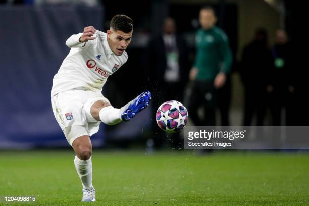 Bruno Guimaraes of Olympique Lyon during the UEFA Champions League match between Olympique Lyon v Juventus at the Parc Olympique Lyonnais on February...